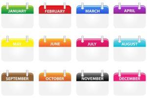 カレンダーの各月